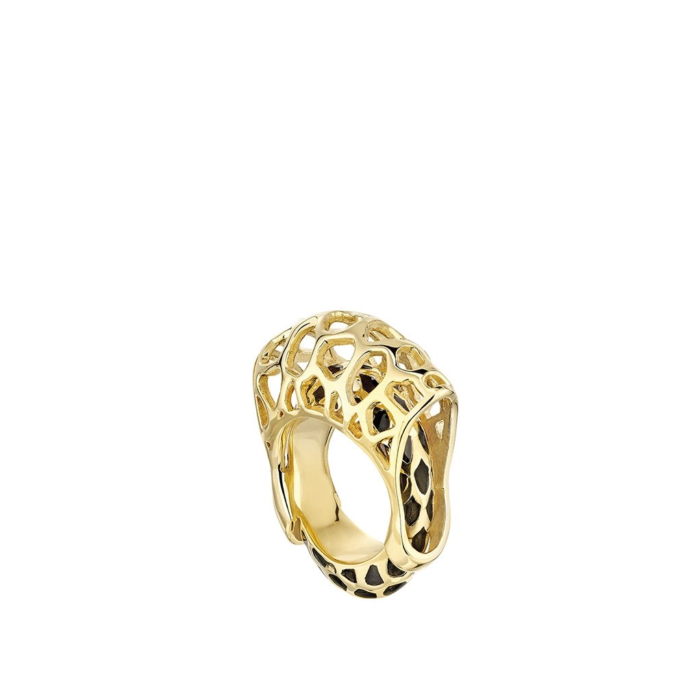 Eurydice ring | Clear crystal and black lacquer, 18K yellow gold plated | Lalique jewellery