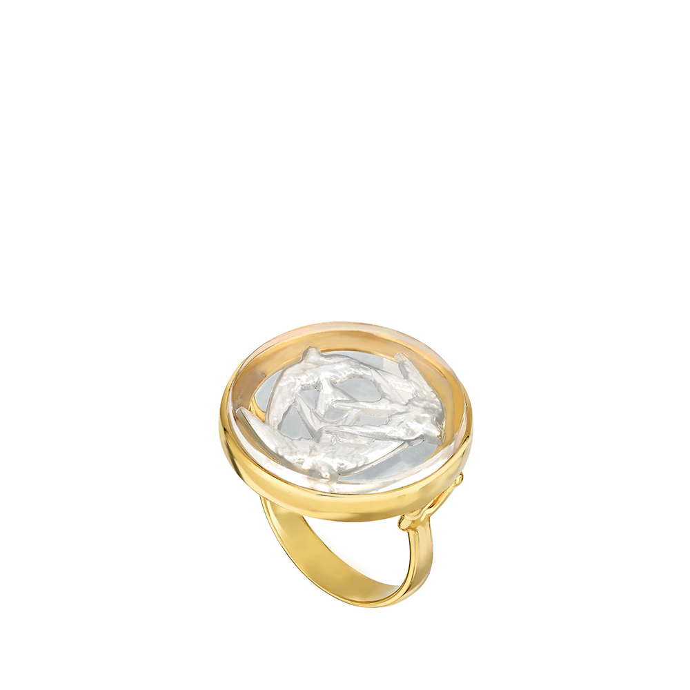 Trois Hirondelles Ring | Pearly clear crystal, vermeil | Costume jewellery Lalique