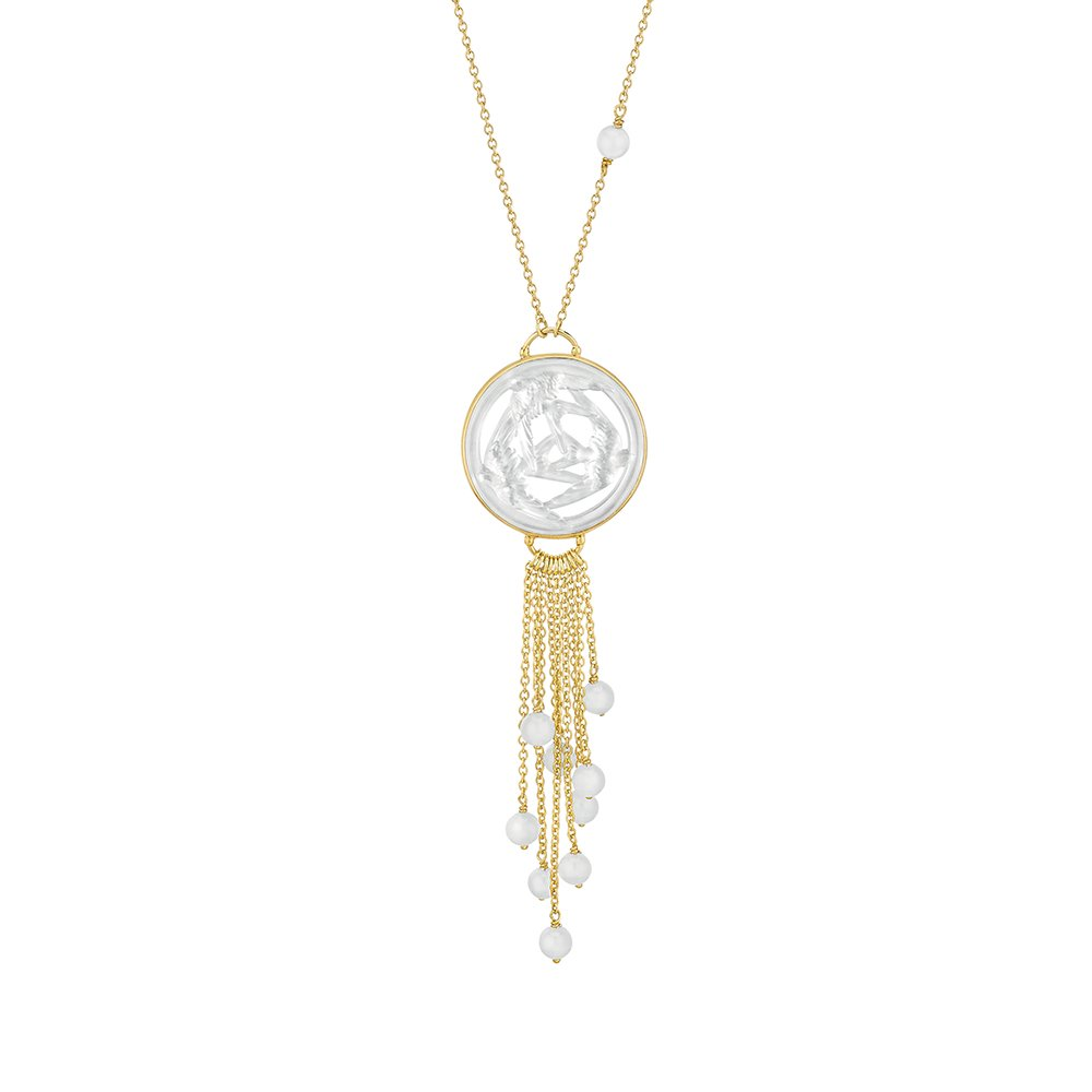 Trois Hirondelles necklace | Pearly clear crystal, vermeil | Costume jewellery Lalique