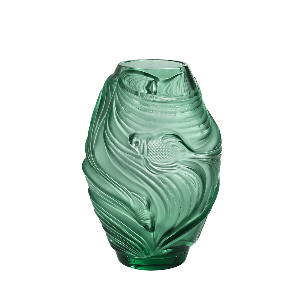 Poissons combattants medium vase | Mint green crystal | Vase Lalique