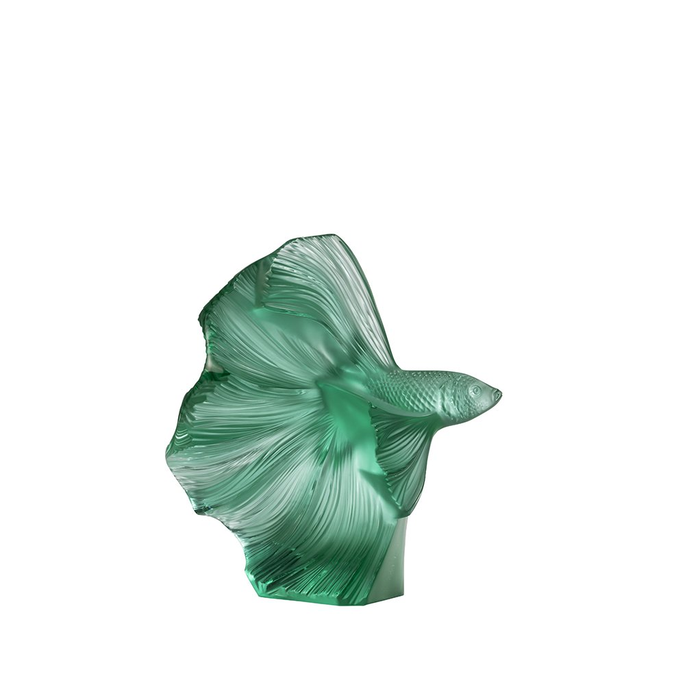 Fighting Fish sculpture |Small size, mint green crystal | Sculpture Lalique