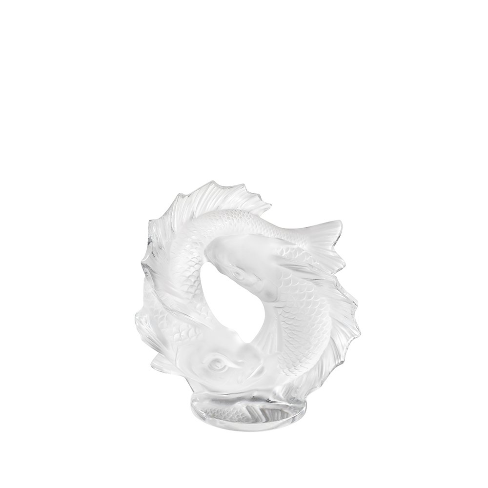 Double Fish sculpture | Clear crystal, small size | Sculpture Lalique
