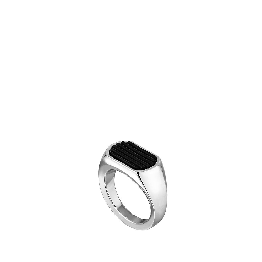 L'Homme Alpha Signet ring | Black crystal, silver | Costume jewellery Lalique
