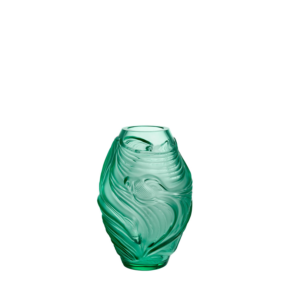 Poissons combattants small vase | Mint green crystal | Vase Lalique