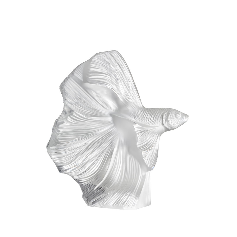 Fighting Fish sculpture | Large size, clear crystal | Sculpture Lalique