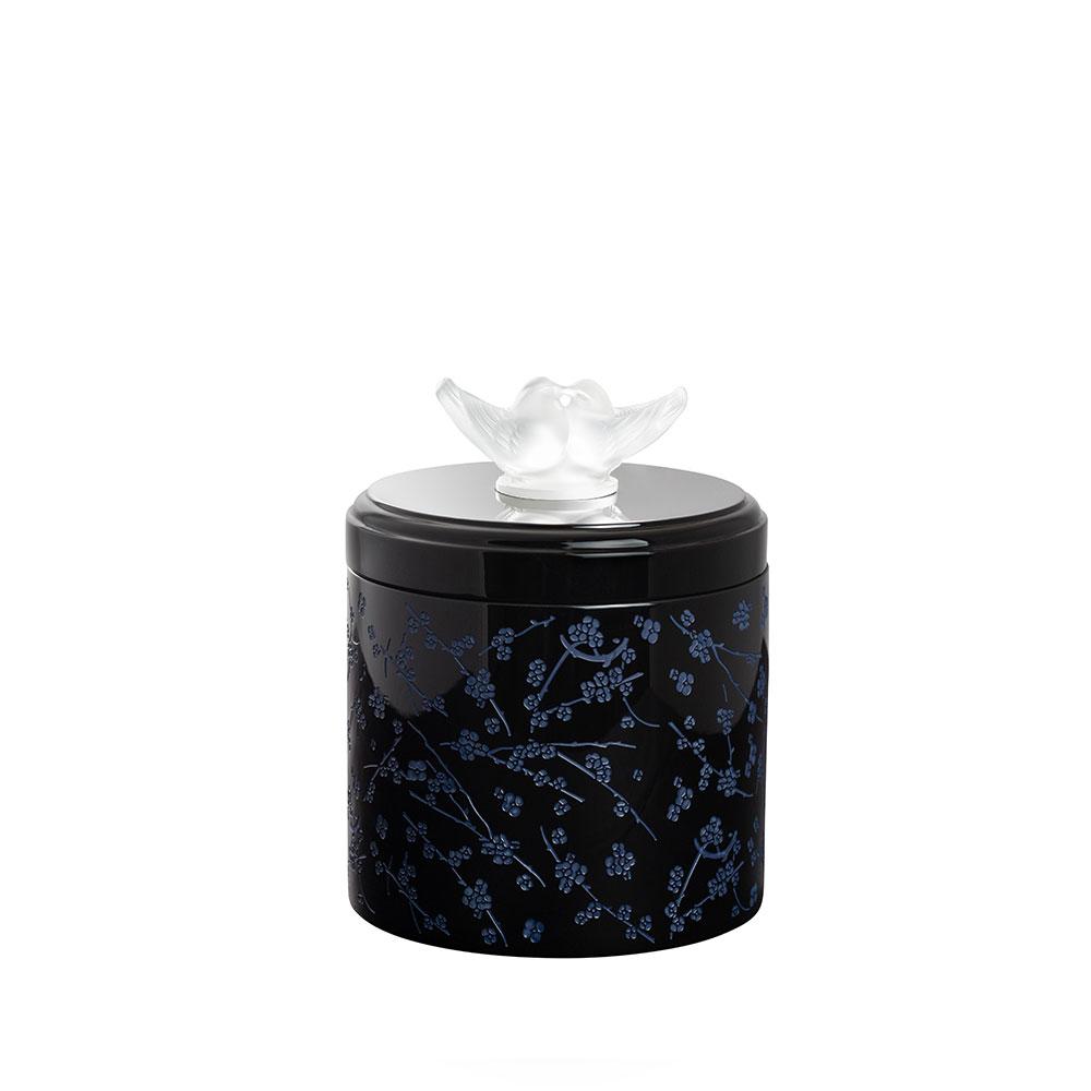 Fleurs de Cerisier lacquered wood box | Clear crystal, Large Size | Box Lalique