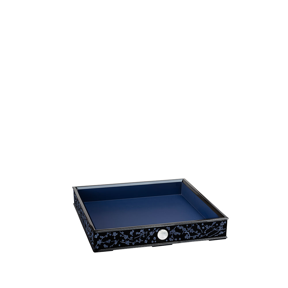 Fleurs de Cerisier lacquered wood tray   Clear crystal, Small Size   Tray Lalique