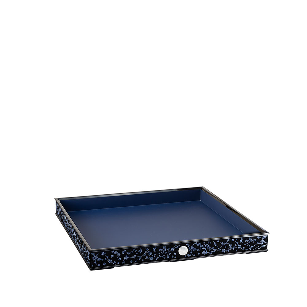 Fleurs de Cerisier lacquered wood tray | Clear crystal, Large Size | Tray Lalique