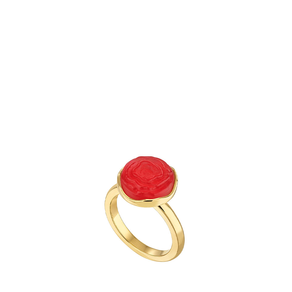 Pivoine Ring | Red pearly on clear crystal, 18 carats yellow gold plated | Costume jewellery Lalique