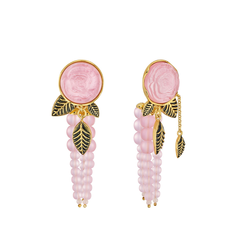 Pivoine Earrings | Pink pearly on clear crystal, 18 carats yellow gold plated, black lacquer | Costume jewellery Lalique