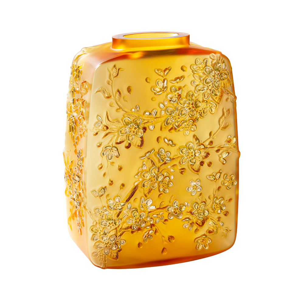 Fleurs de Cerisier Vase | Limited edition (88 pieces), amber crystal gold stamped, black enamelled | Lalique Vase