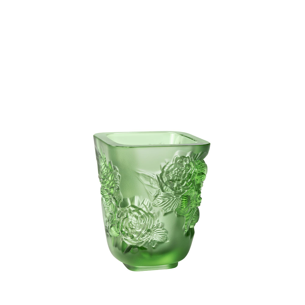 Pivoines Vase Small Size | Green crystal | Lalique Vase