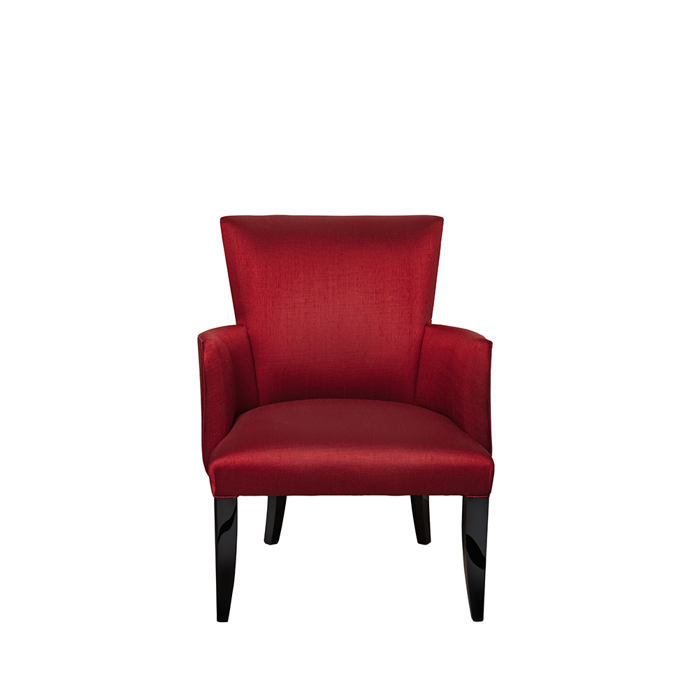 Raisins armchair | Numbered edition, clear crystal, black lacquered and red silk | Armchair Lalique