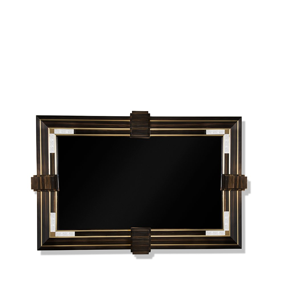 Raisins TV frame surround | Numbered edition, clear crystal, natural ebony and inox golden satin steel | TV frame surround Lalique