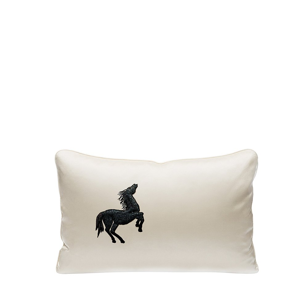 Cheval Bondissant beaded cushion | Ivory silk, black glass beads, small size | Interior Design Lalique