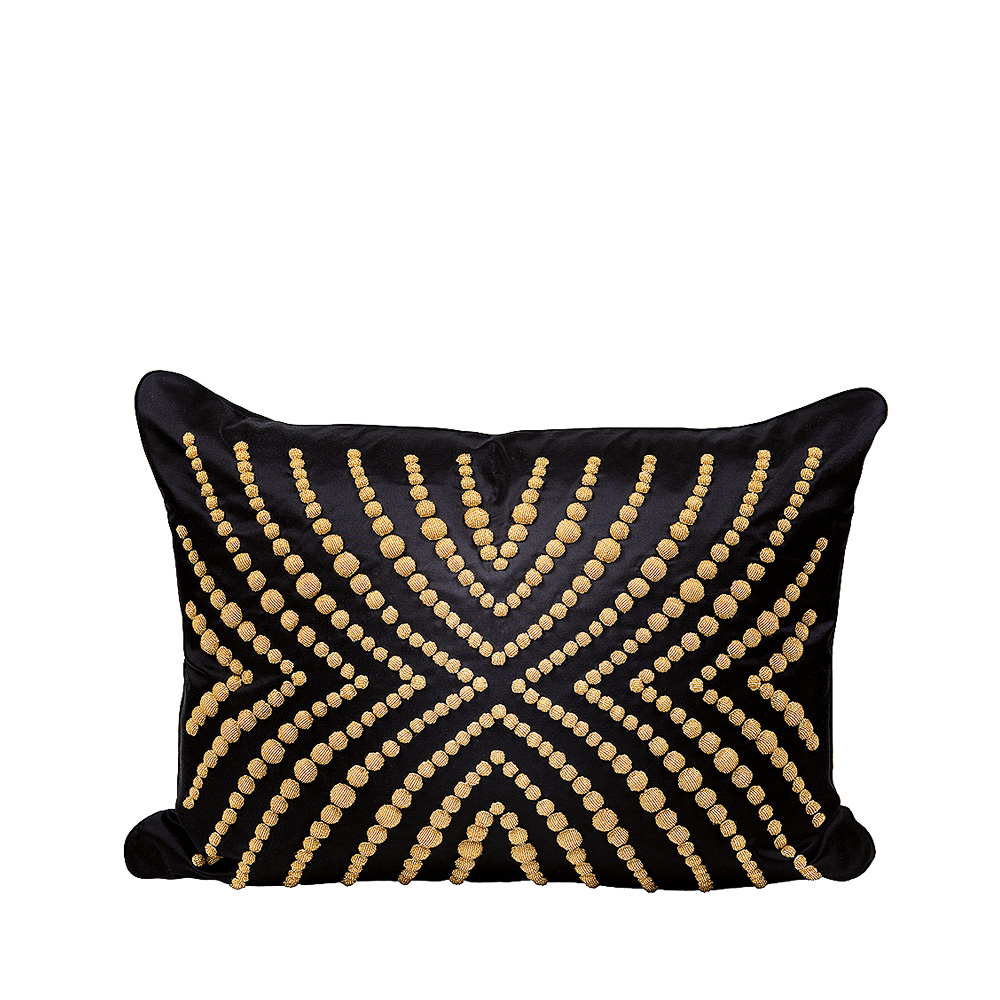 Coutard beaded cushion | Ivory silk, black glass beads, large size | Interior Design Lalique