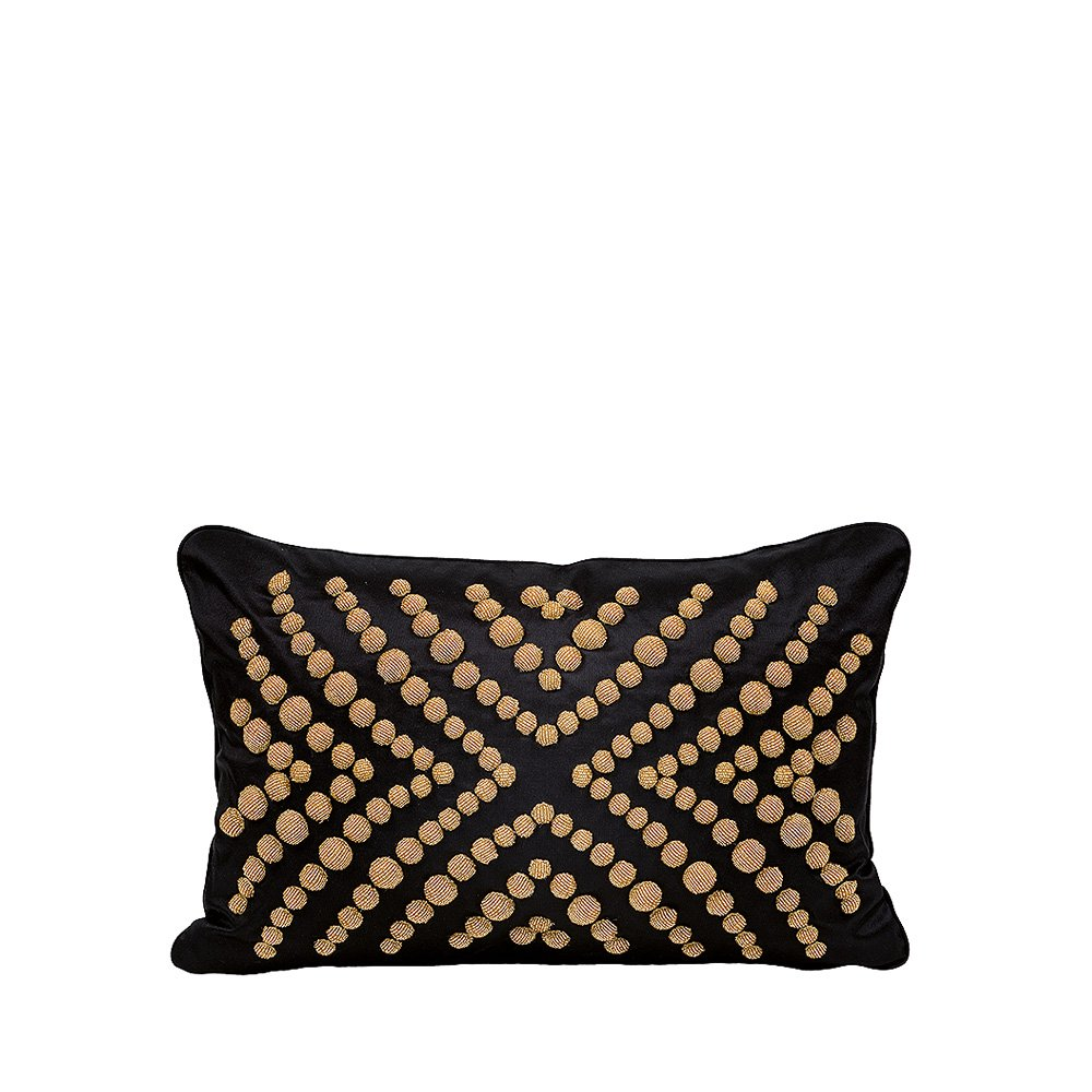 Coutard beaded cushion | Ivory silk, black glass beads, small size | Interior Design Lalique