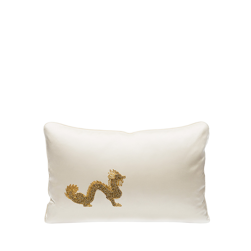 Dragon beaded cushion | Ivory silk, gold glass beads, small size | Interior Design Lalique