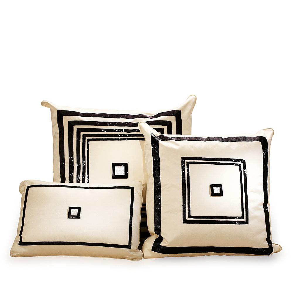 Masque de Femme beaded cushion | Ivory silk, black glass beads | Interior Design Lalique