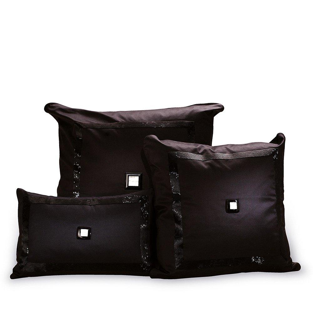 Masque de Femme beaded cushion | Black silk, black glass beads | Interior Design Lalique