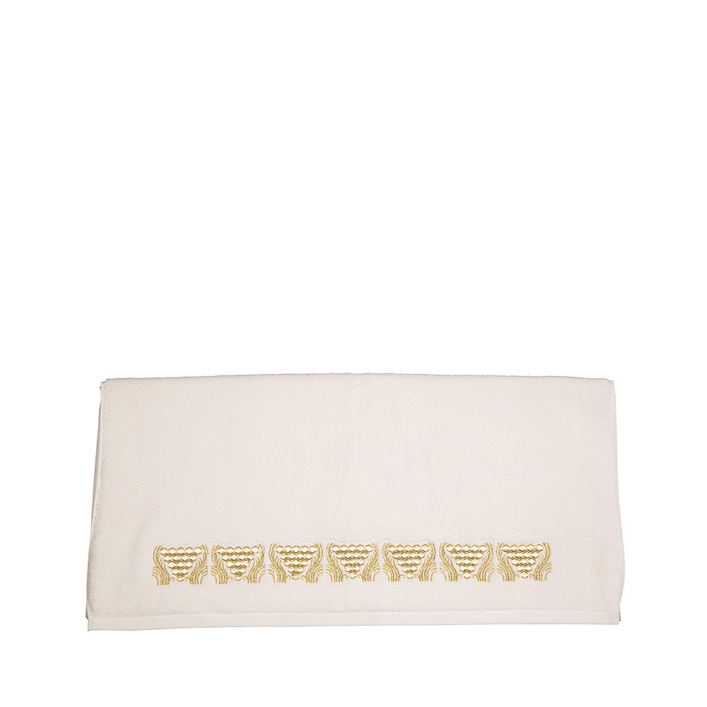 Raisins embroidered bath towel   Ivory cotton, gilded embroidery   Interior Design Lalique