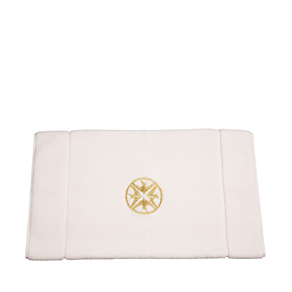 Hirondelles embroidered bath mat | Ivory cotton, gold embroidery | Interior Design Lalique