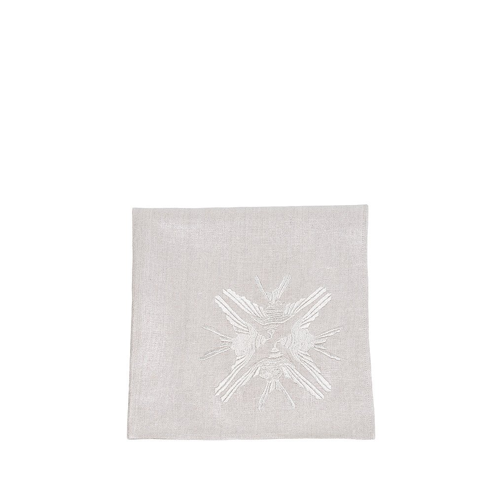 """4 Hirondelles"" embroidered napkin 