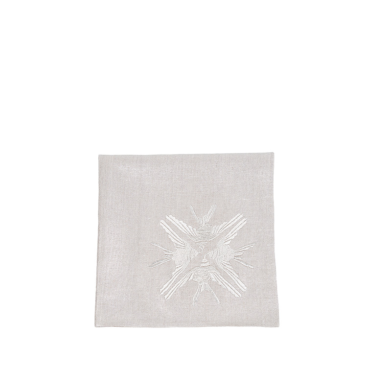 4 Hirondelles embroidered napkin