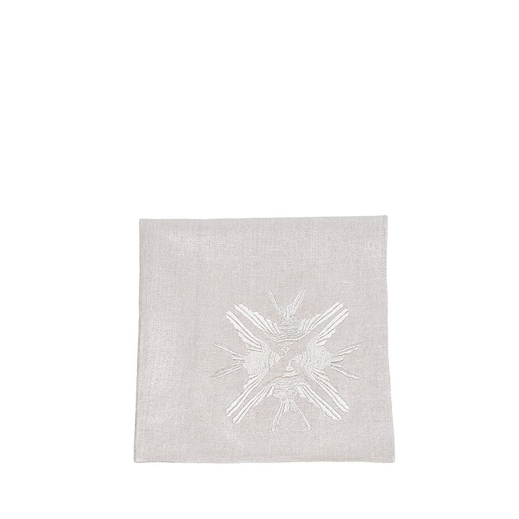 4 Hirondelles embroidered napkin